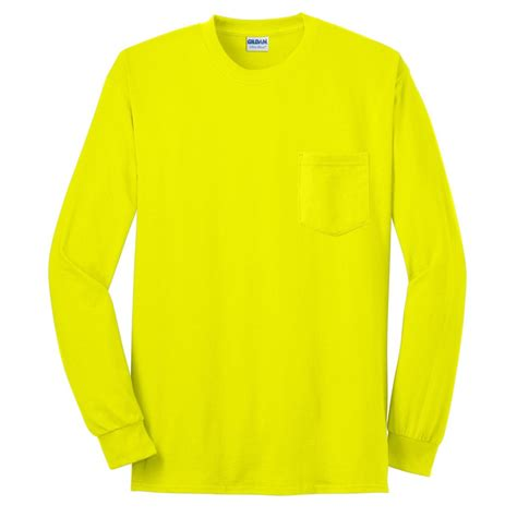 safety green color gildan 2410 ultra cotton sleeve t shirt with pocket
