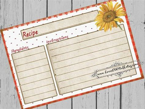 printable blank recipe cards   recipe cards