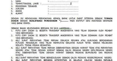 Lamaran Kerja Docx by Contoh Surat Lamaran Kerja Dosen Lengkap Docx Size 26kb