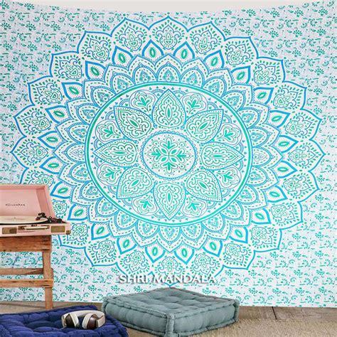 light blue green mandala wall hanging tapestry shri mandala