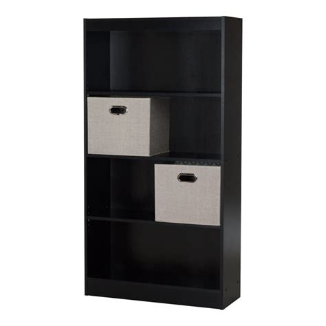 black bookcase with baskets south shore axess 4 shelf wood bookcase in black with 2