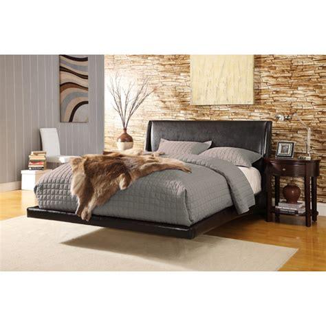 helmsley bonded leather platform queen bed black