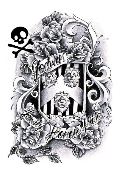Crest Tattoo Sketch Stencil Design Inkspired