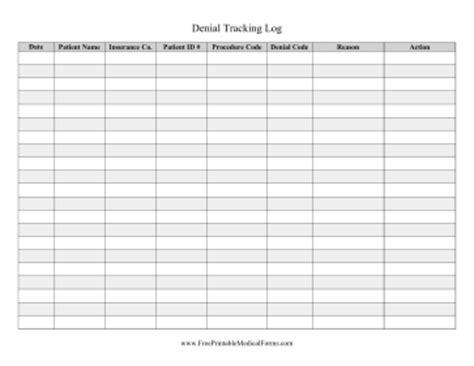 Printable Denial Tracking Log