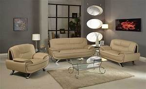 405, Modern, Living, Room, Set, In, Beige, Leather, By, Ufg