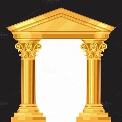 Temple Greek Columns Corinthian Realistic Antique Column