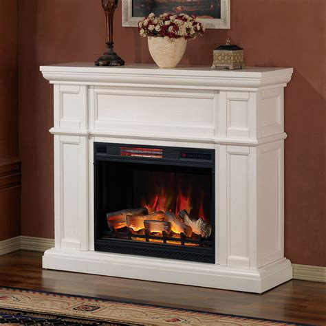 electric fireplace mantels artesian white infrared electric fireplace mantel