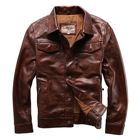 cowhide leather jackets genuine cow skin leather jacket mens cowhide casual