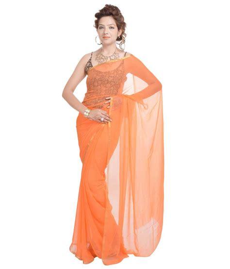 spaghetti blouse geroo orange organic chiffon saree with stitched spaghetti