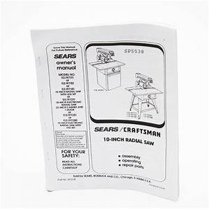 Radial Arm Saw Owner U0026 39 S Manual