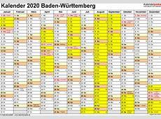 Kalender 2020 BadenWürttemberg Ferien, Feiertage, PDF