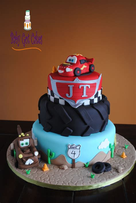cars  tier     tier covered  fondant lightning mcqueen tow mater