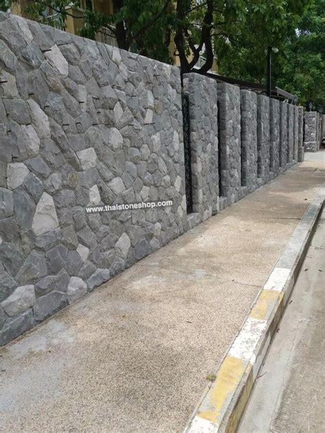 หินธรรมชาติ หินภูเขา สีเทาขาว ติดตั้งผนังกำแพงรั้วหน้าบ้าน ...