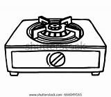 Gas Cartoon Stoves Vector Stove Burner Oven Sketch Single Drawing Illustration Shutterstock Coloring Drawn Fire Isolated Animated Portable Camp Template sketch template