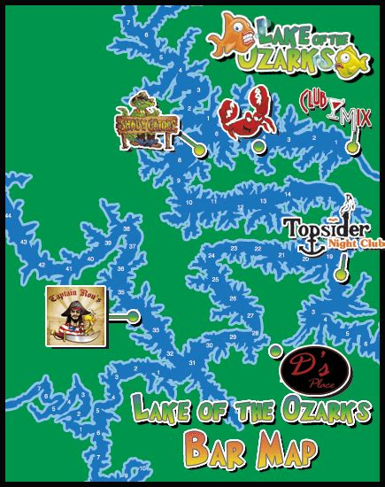 Lake Of The Ozarks Boating Map by Lake Of The Ozarks Bars Map Of The Bars Travel St