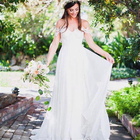 simple  elegant   shoulder beach wedding dresses