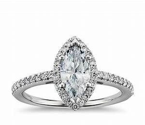 Marquise cut halo diamond engagement ring in platinum for Shaped diamond wedding rings