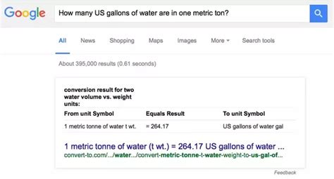 units of measure how many us gallons of water are in one metric ton units of measure