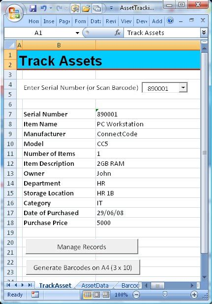 Resume Setup Exle by Connectcode Asset Tracking Spreadsheet Is A Free Excel