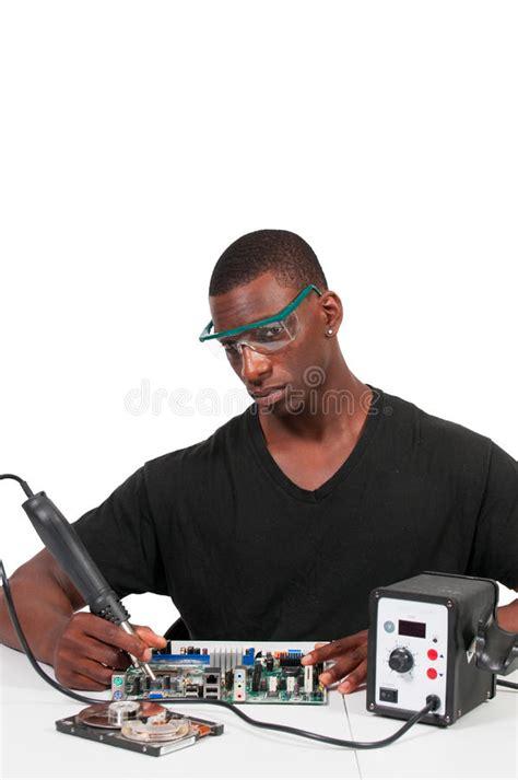 Man Soldering Stock Photo Image