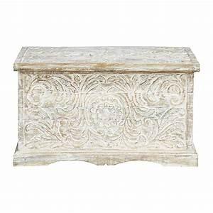 Banc Coffre Maison Du Monde : coffre indien sculpt en manguier massif blanc effet ~ Premium-room.com Idées de Décoration