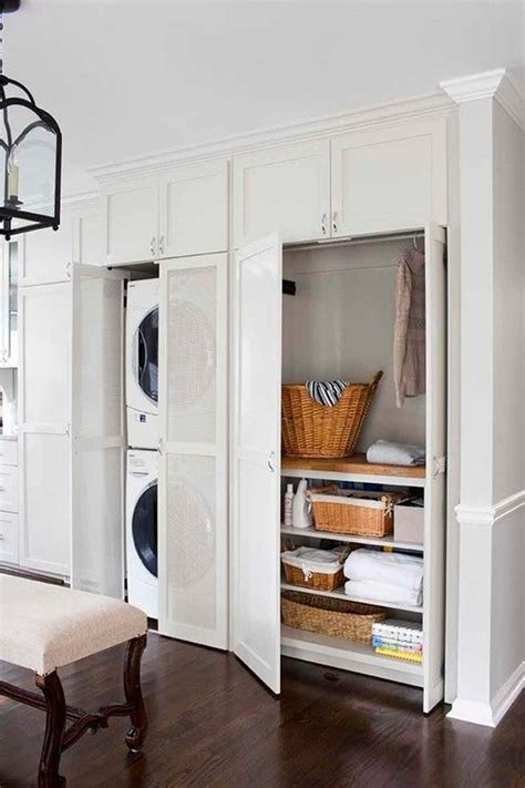 functional white laundry cabinet