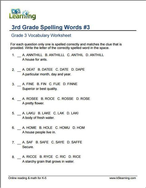 3rd grade spelling words project1 spelling worksheets