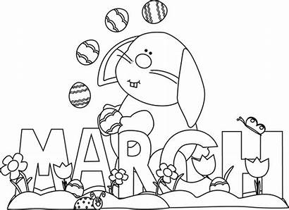 March Coloring Month Clipart Pages Easter Bunny
