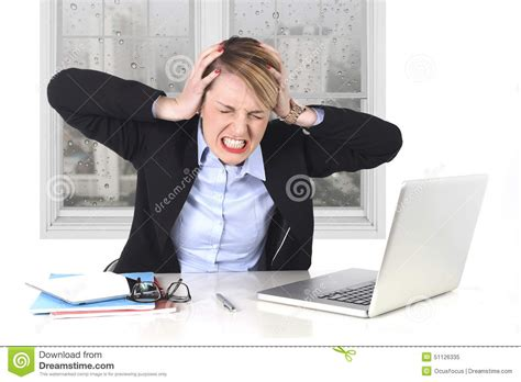 Young Businesswoman Angry In Stress At Office Working On Computer Stock Photo - Image: 51126335