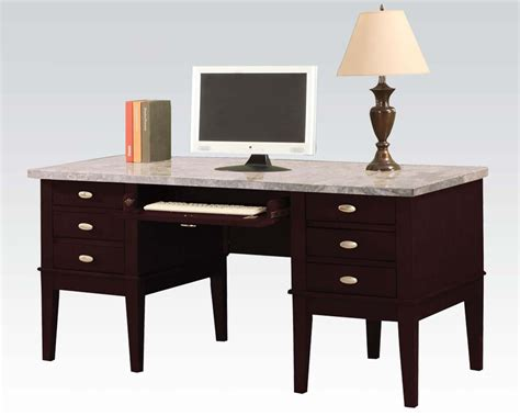 white marble desk white marble top office desk by acme furniture ac92008