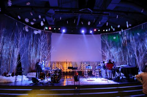 christmas stage decorations frosty forestry church stage design ideas
