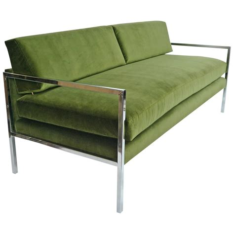 green sofas for sale milo baughman chrome and green velvet sofa for sale at 1stdibs
