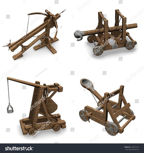 siege warfare collection 3d renders siege weapons stock illustration