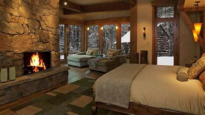Cozy Fireplaces Interior Fireplace Snow Cabin Bedroom