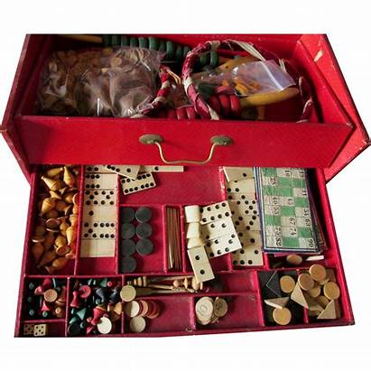 Antique French Parlor Board Games Box Chess