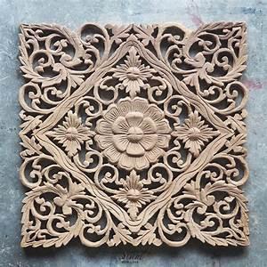 Lotus Carved Wood Wall Art Panel from Bali - Siam Sawadee