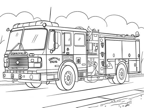 sunnyvale fire truck coloring page  printable coloring pages  kids