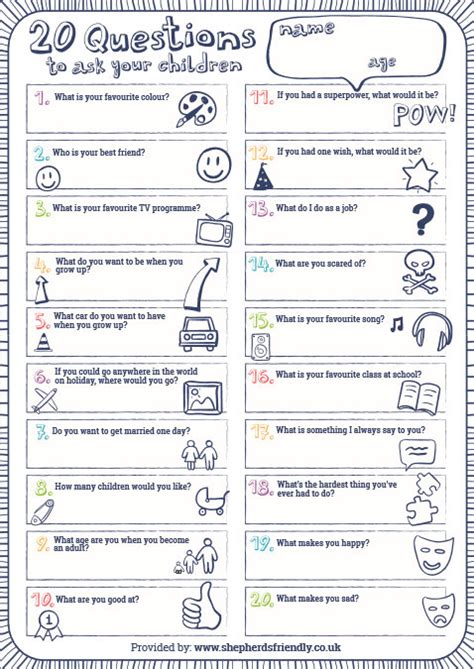 The Brick Castle 20 Questions To Ask Your Kids  With My