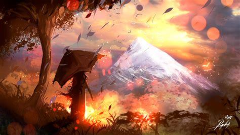 Painting Wallpaper by Wallpaper Artwork Mountains Umbrella