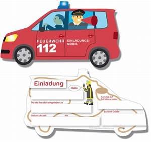 Einladungskarten Feuerwehrauto Kinderparty Onlineshop de