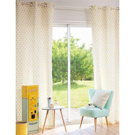 rideau 224 œillets en coton motifs jaunes 110x250cm