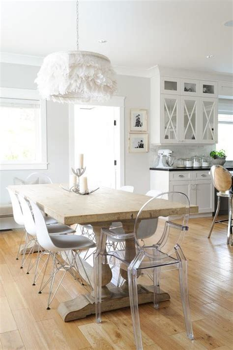 ghost chairs with wood table reclaimed wood baluster dining table with ghost dining