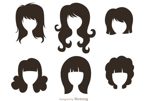 Black Silhouette Woman With Hairstyles Vectors   Download