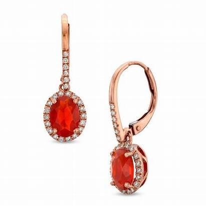 Opal Earrings Fire Drop Gold Oval Ct