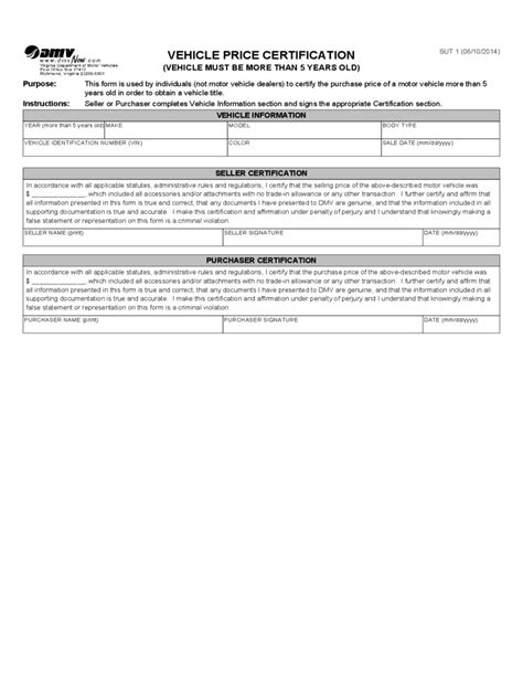 virginia bill  sale form  templates   word