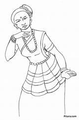 Folk Pages Dancing Dancer Coloring Styles Pitara Craft sketch template