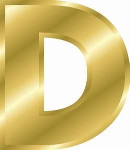 Letter d capital letter alphabet abc gold public for Gold letter d