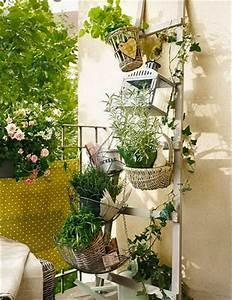 Jardin Et Balcon : jardin am nag sur balcon avec chelle bois jardini re ~ Premium-room.com Idées de Décoration