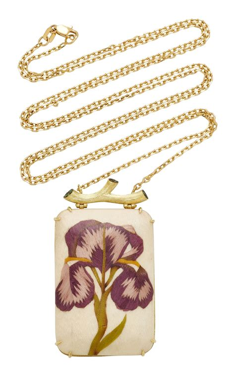 silvia furmanovich marquetry purple flower necklace