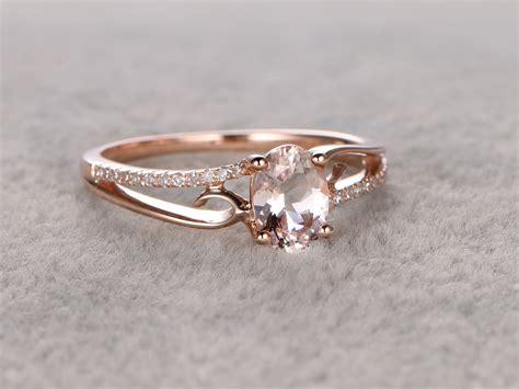 simple gold wedding ring 6x8mm oval morganite engagement ring diamond wedding ring 14k rose gold simple split shank bbbgem